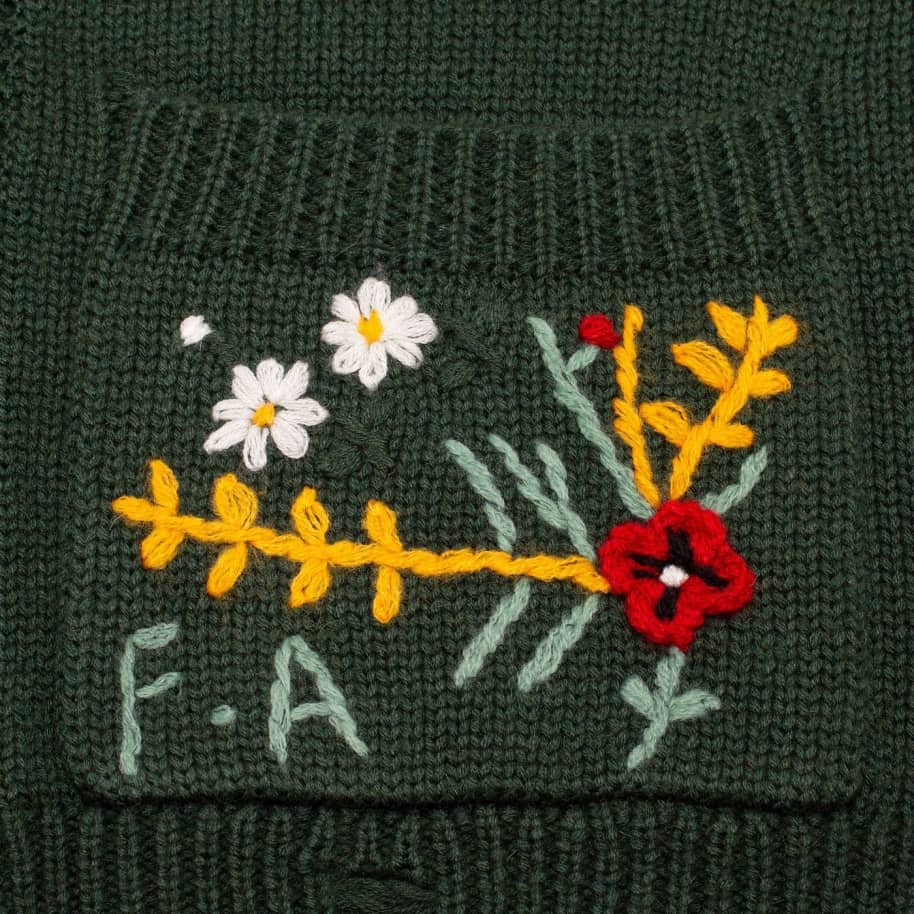 Fucking Awesome Distressed Flower Cardigan - Forest Green | Cardigan by Fucking Awesome 4