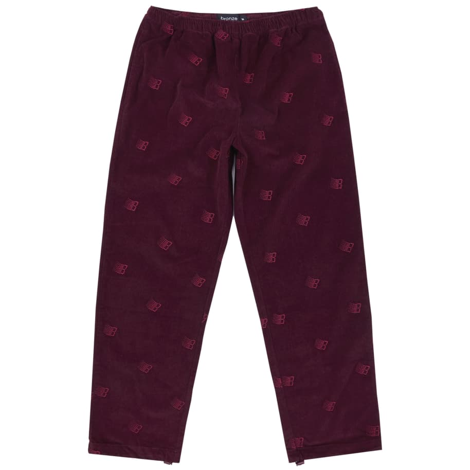 Bronze 56k Allover Embroidered Cord Pants - Maroon | Trousers by Bronze 56k 1