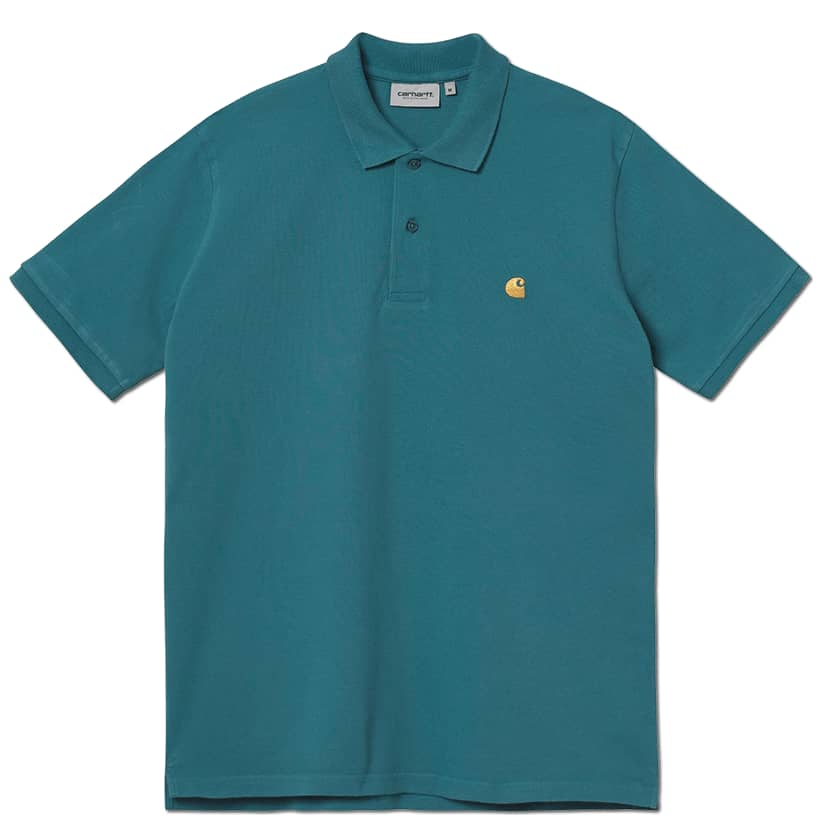 Carhartt WIP Chase Pique S/S Polo - Hydro / Gold | Polo Shirt by Carhartt WIP 1