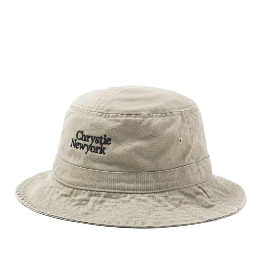 Chrystie NYC Classic Logo Bucket Hat - Khaki | Bucket Hat by Chrystie NYC 1