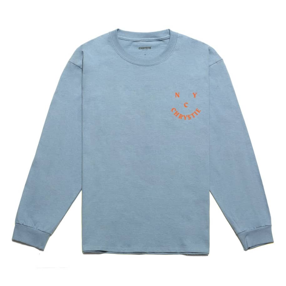 Chrystie NYC Smile Logo Long Sleeve T-Shirt - Stone Blue | Longsleeve by Chrystie NYC 2