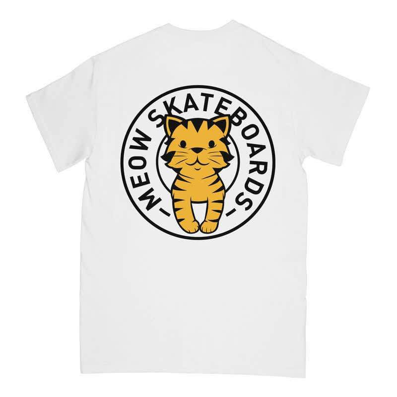 Meow Tabby Seal T-Shirt - White   T-Shirt by Meow Skateboards 1