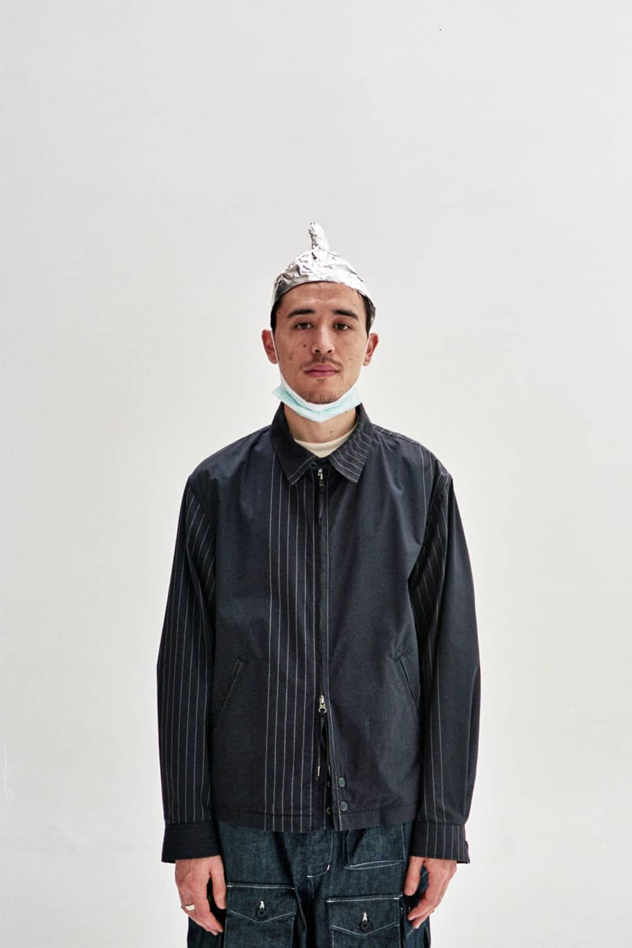 Claigton Jacket Dark Navy Nyco Gangster Stripe | Jacket by Engineered Garments 3