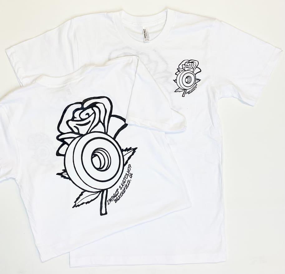 IMPACT Rose Wheel Tee White | T-Shirt by Impact Skate 1