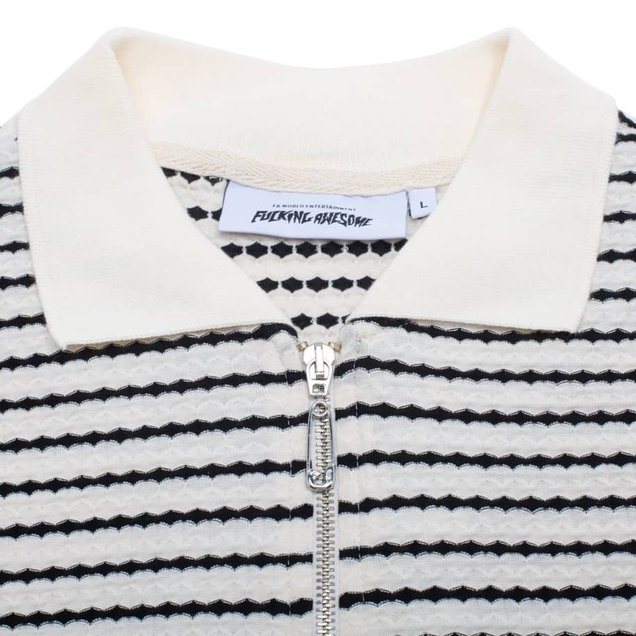Fucking Awesome School Day 1/4 Zip Shirt - Black / White   Polo Shirt by Fucking Awesome 2