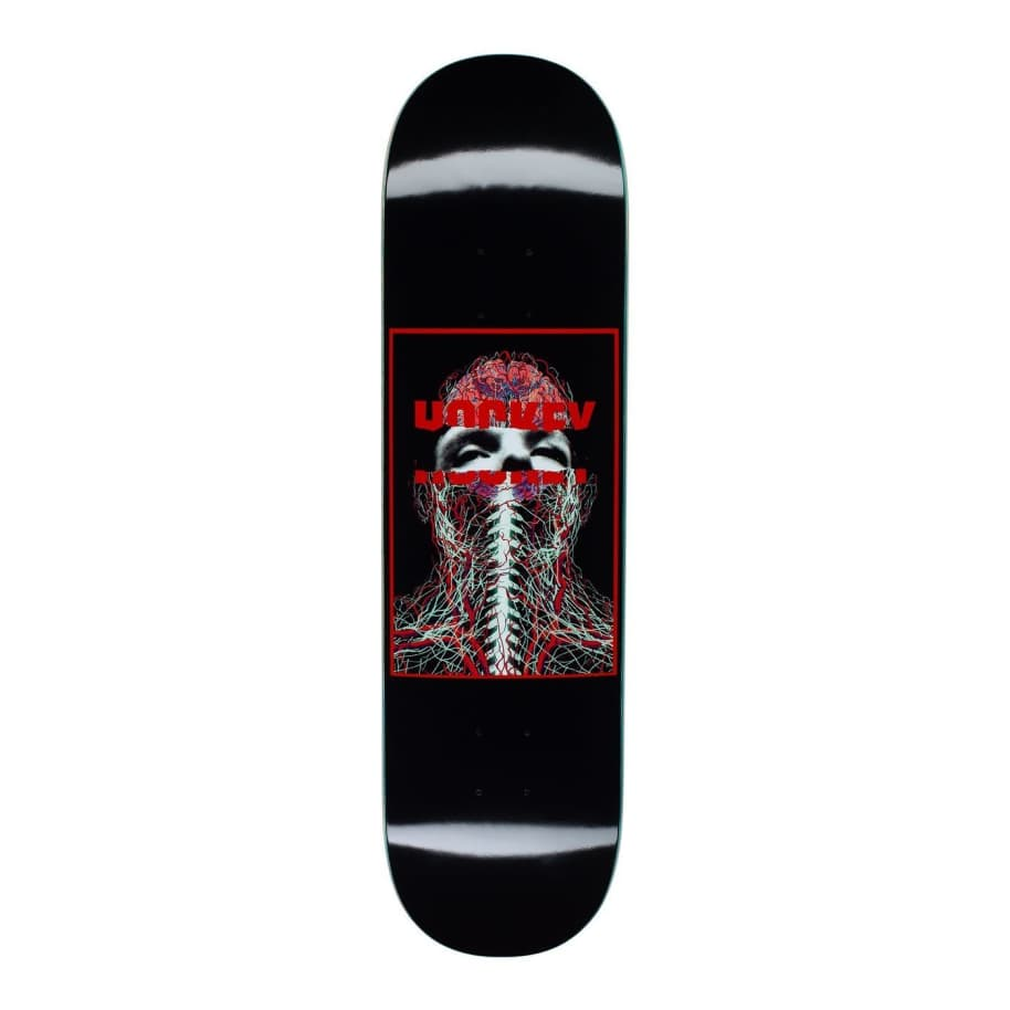 Hockey Nerves Black Skateboard Deck - 8.25"