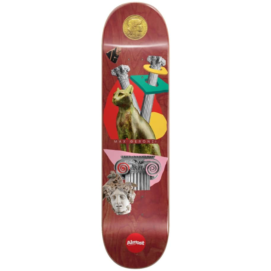 "Almost Skateboards - 8.375"" Relics Max Geronzi Pro Deck (Maroon) 
