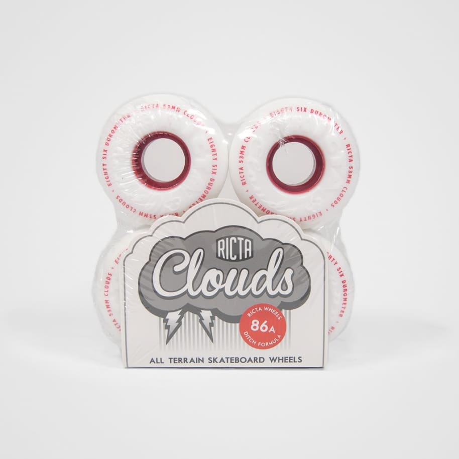 Ricta - 53mm (86a) Wide Clouds Skateboard Wheels - White / Red | Wheels by Ricta Wheels 2