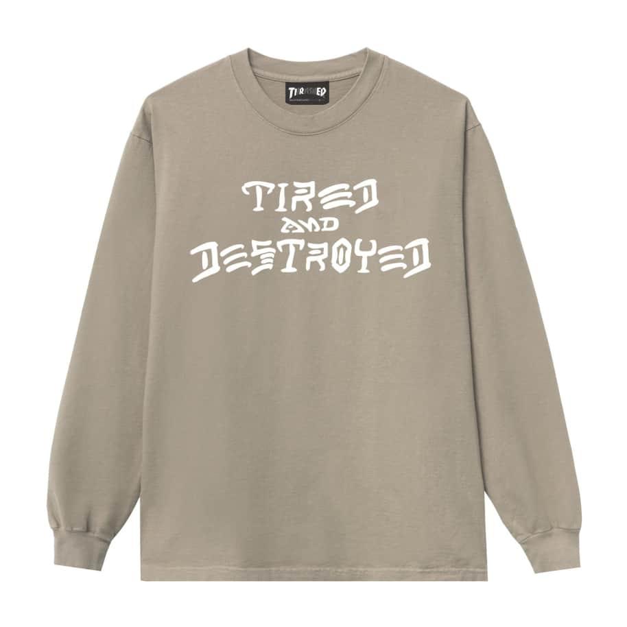 Tired x Thrasher Destroyed Long Sleeve T-Shirt - Sand | Longsleeve by Tired Skateboards 1