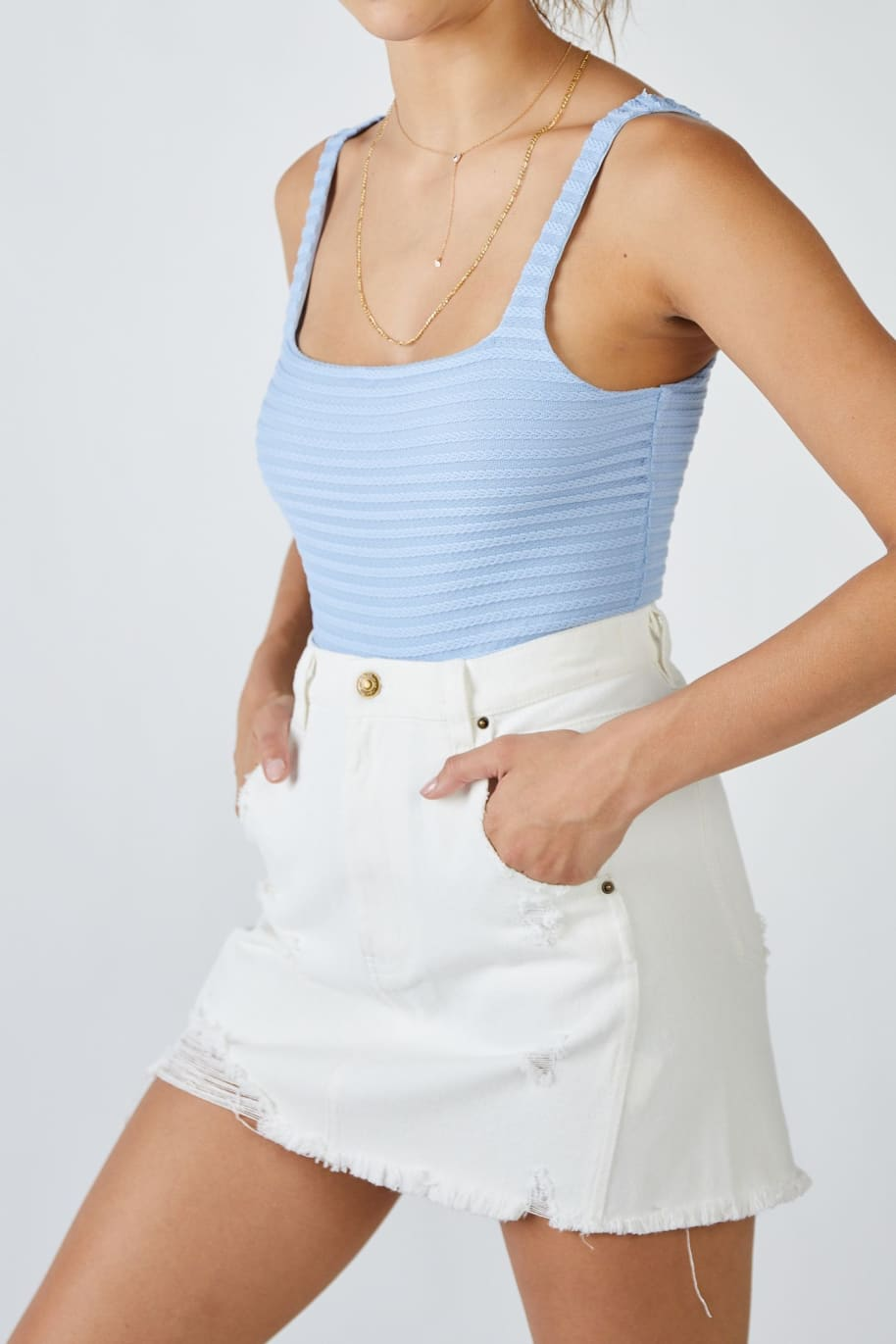 Sage The Label Emily Denim Mini Skirt | Skirt by Sage The Label 4