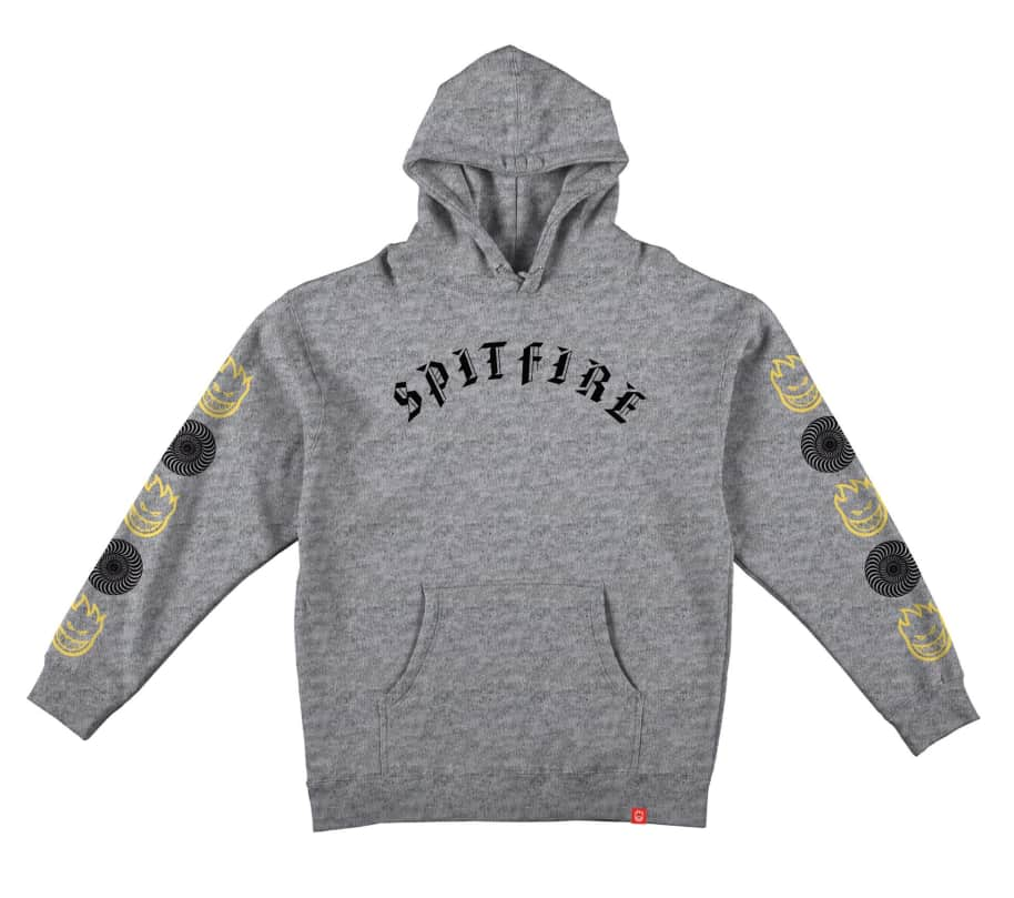 Spitfire Old E Bighead Combo Hooded Pullover Sweatshirt (Heather Grey)   Hoodie by Spitfire Wheels 1