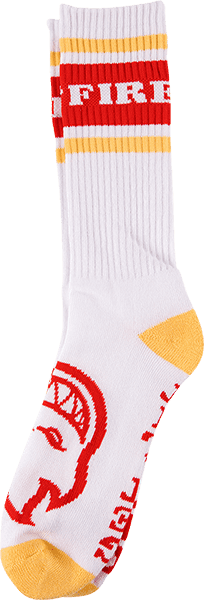 Spitfire OG Classic Crew Socks - (Heather white/Red/Yellow) | Socks by Spitfire Wheels 1