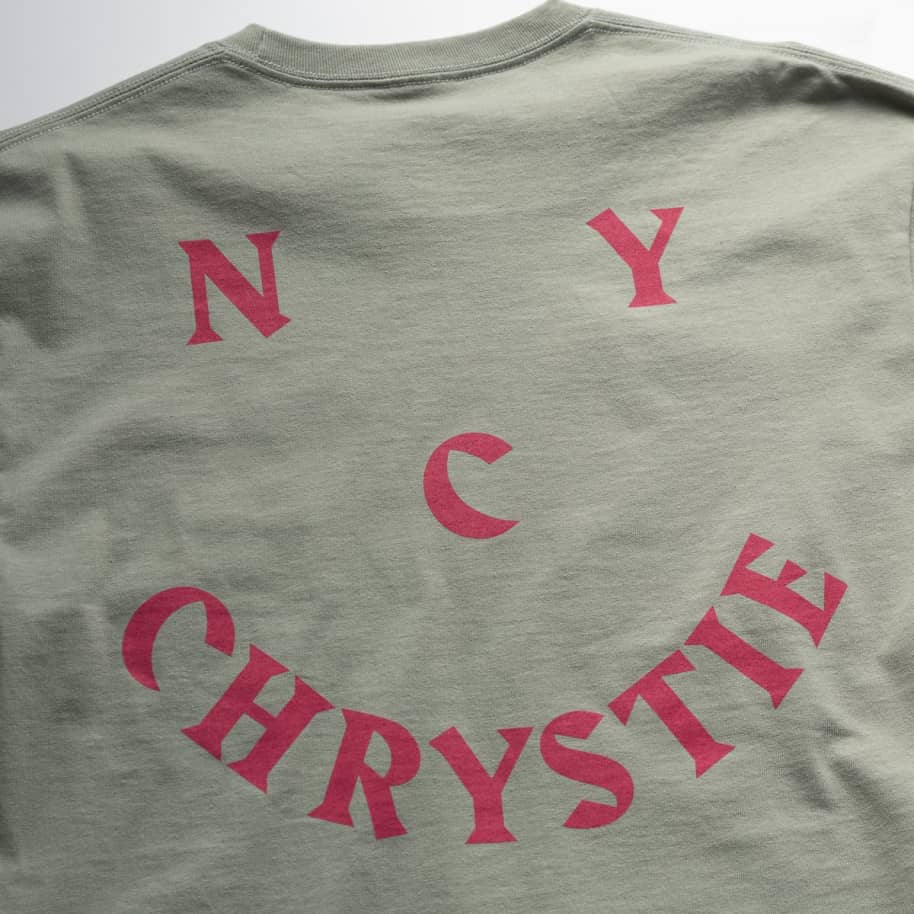 Chrystie NYC Smile Logo Long Sleeve T-Shirt - Weed Green | Longsleeve by Chrystie NYC 5