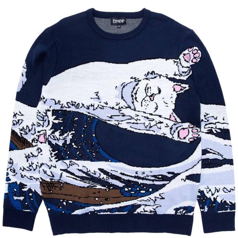 Ripndip Great Wave Knitted Sweater - Navy | Sweatshirt by Ripndip 1