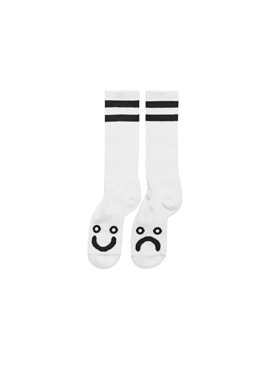 Polar Skate Co Happy Sad Socks - White | Socks by Polar Skate Co 1