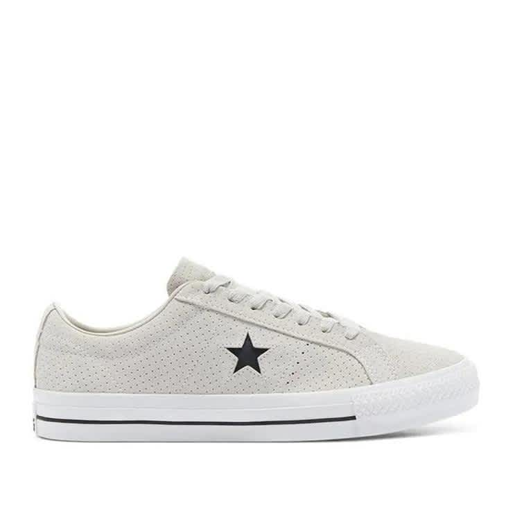 Converse CONS Perforated Suede One Star Pro Low Top Shoes - Pale Putty / White / White | Shoes by Converse Cons 1