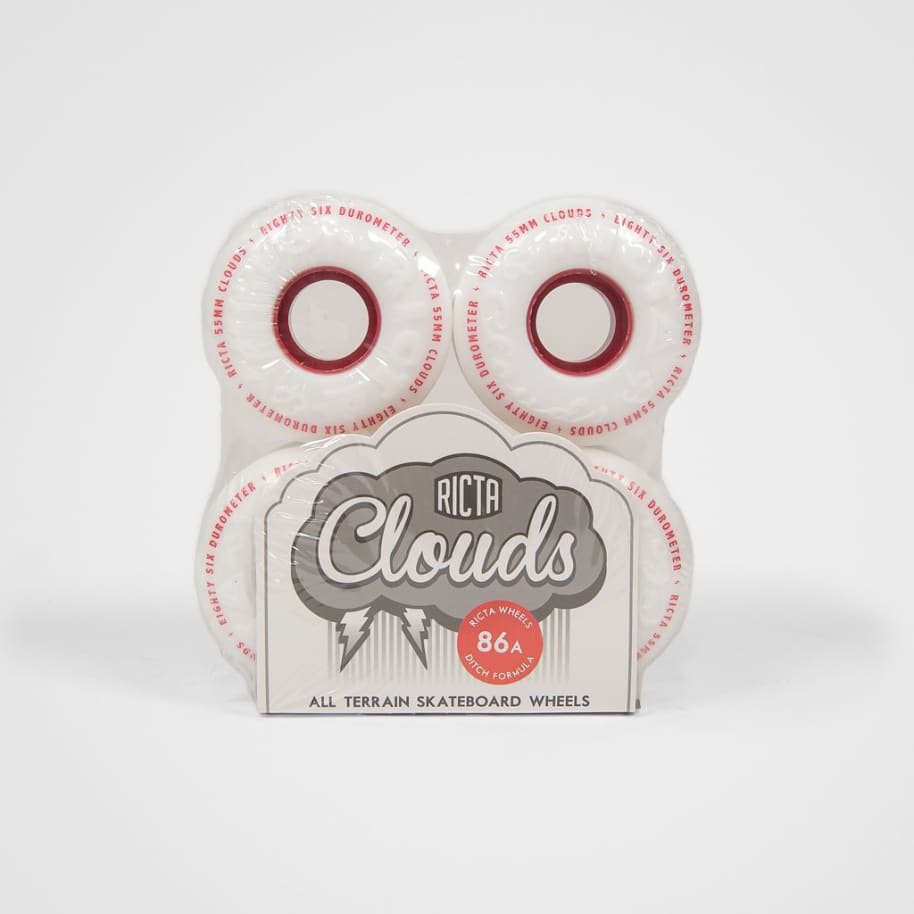 Ricta - 55mm (86a) Wide Clouds Skateboard Wheels - White / Red | Wheels by Ricta Wheels 2