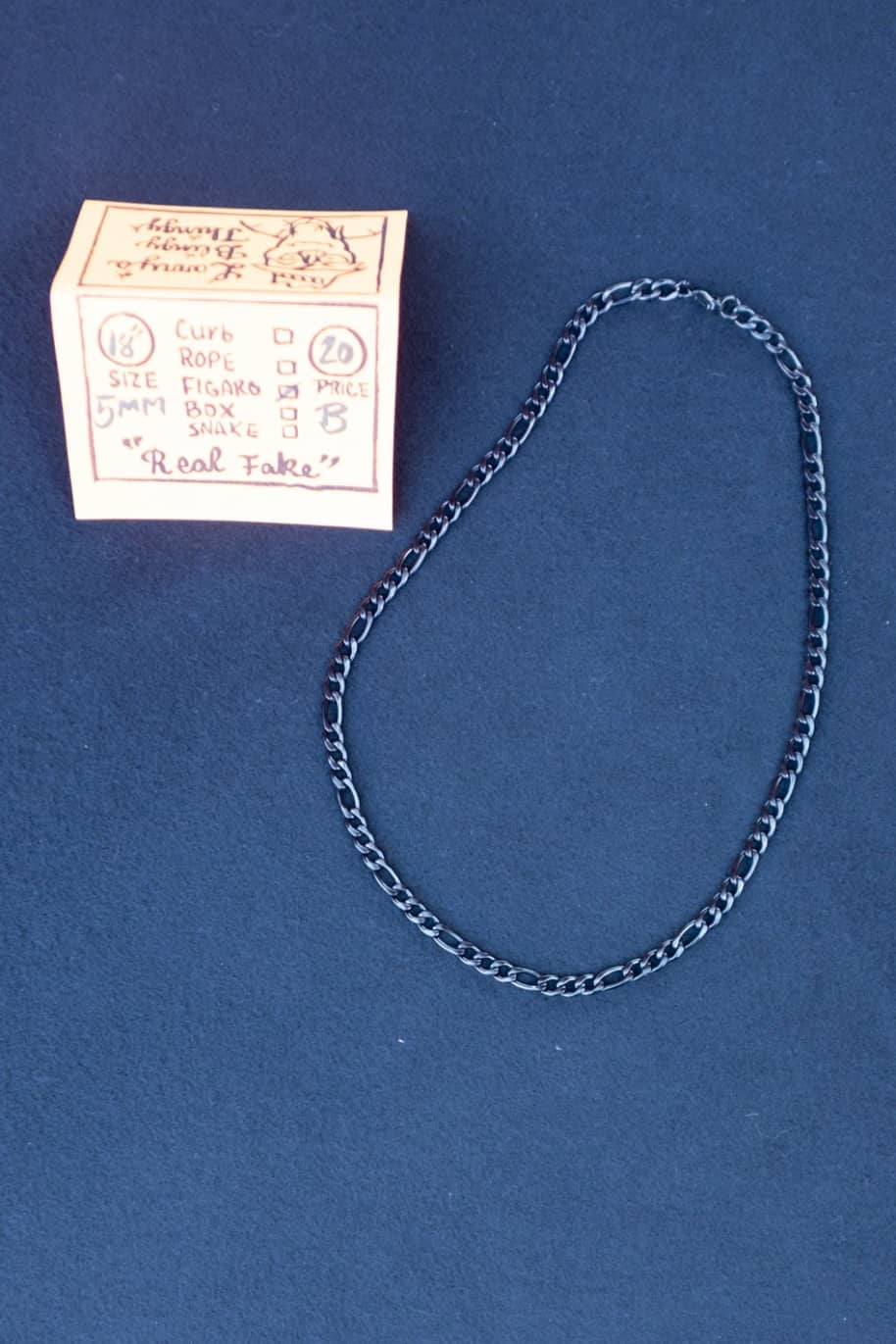 Figaro Necklace 18 inch 5 mm - Black | Jewellery by Larry's Blingy Thingy 1