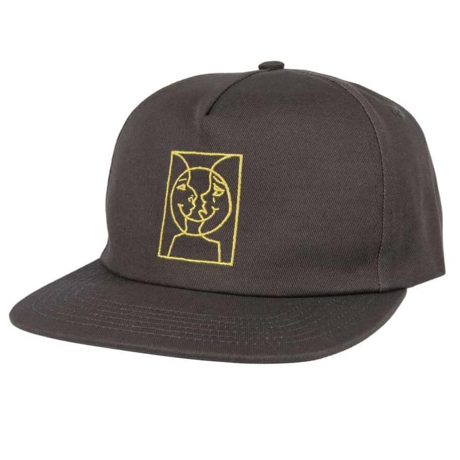 KROOKED Moon Smile Snapback Hat Grey/Yellow | Snapback Cap by Krooked Skateboards 1