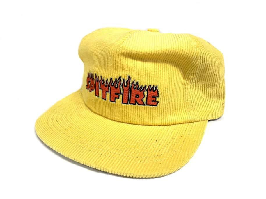 Spitfire Wheels Flash Fire Corduroy SnapBack Hat Yellow | Snapback Cap by Spitfire Wheels 1