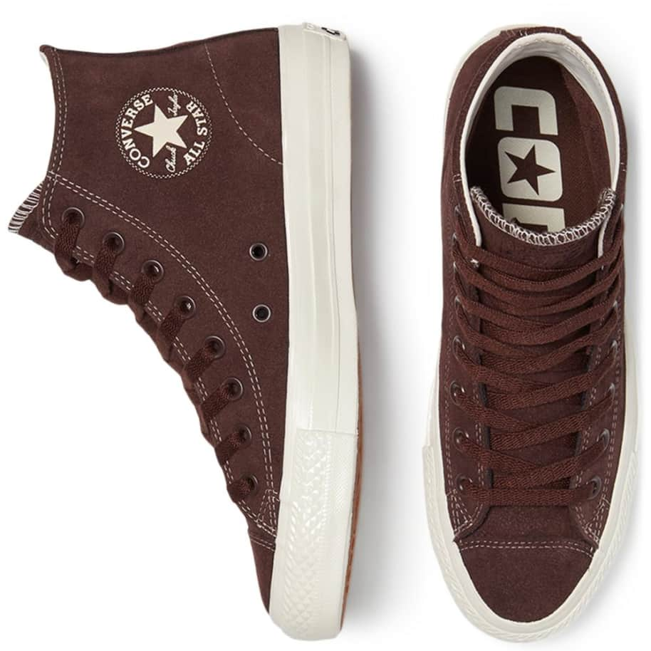 Converse CONS CTAS Pro High Top Suede Shoes - Dark Root / Egret   Shoes by Converse Cons 4