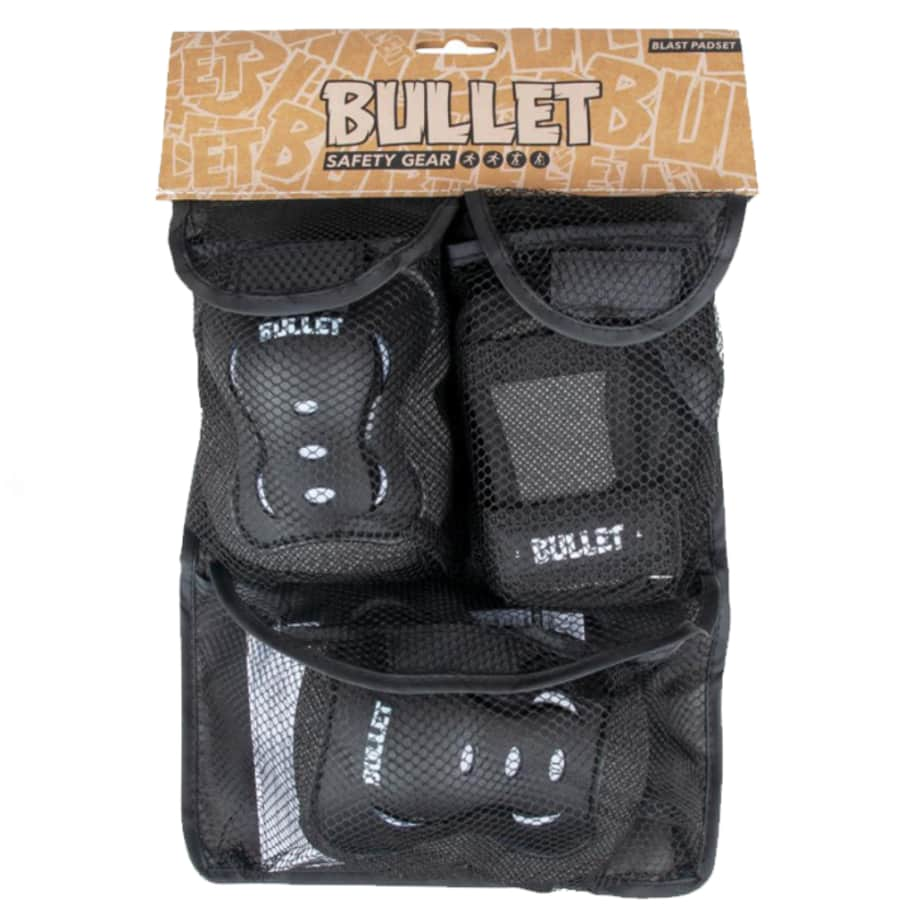 Bullet - Triple Pad Set - Black / White - Junior 7-9 Years Extra Small | Pads by Bullet Skateboards 1
