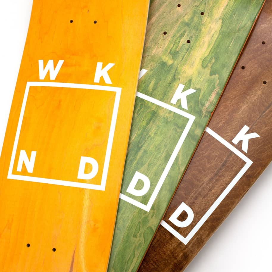 """WKND Logo White Assorted Colors Skateboard Deck - 8.5"""" 