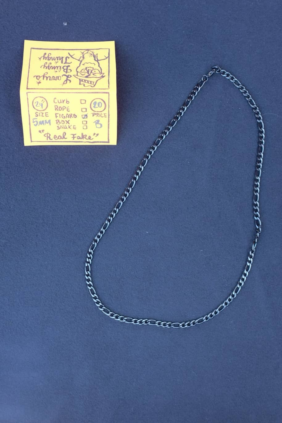 Figaro Necklace 24 inch 5 mm - Black | Jewellery by Larry's Blingy Thingy 1