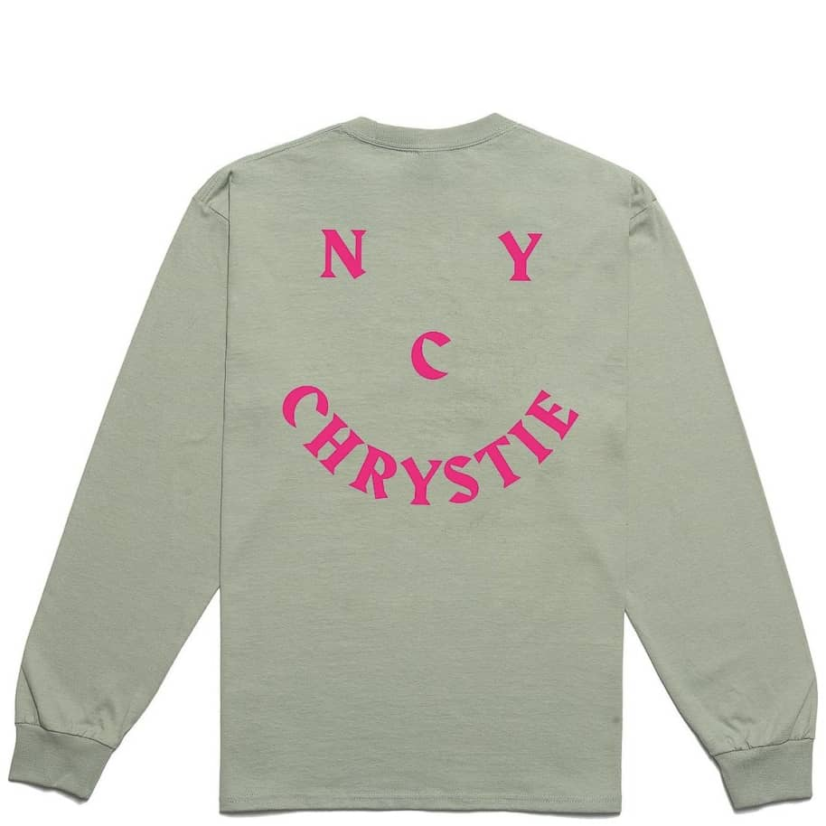 Chrystie NYC Smile Logo Long Sleeve T-Shirt - Weed Green | Longsleeve by Chrystie NYC 1