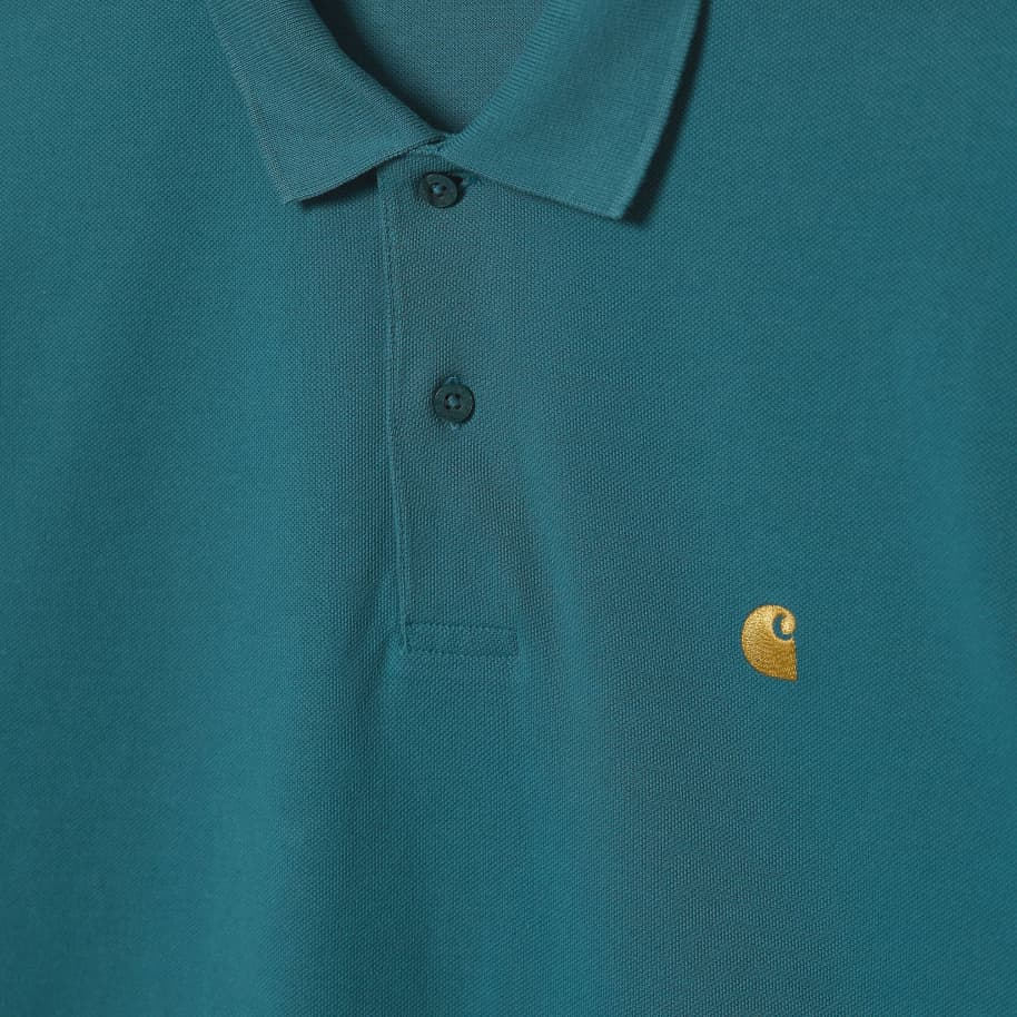 Carhartt WIP Chase Pique S/S Polo - Hydro / Gold | Polo Shirt by Carhartt WIP 3