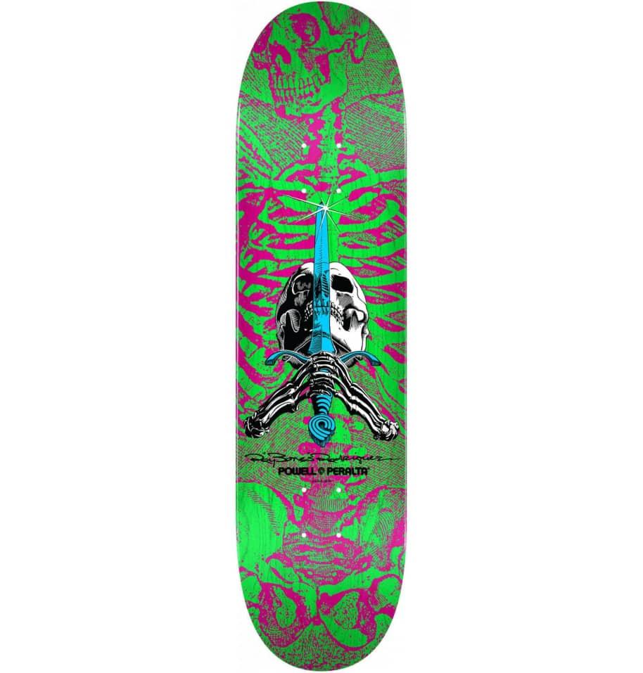 Powell Peralta Skull & Sword Deck - Pink Green 8.0   Deck by Powell Peralta 1