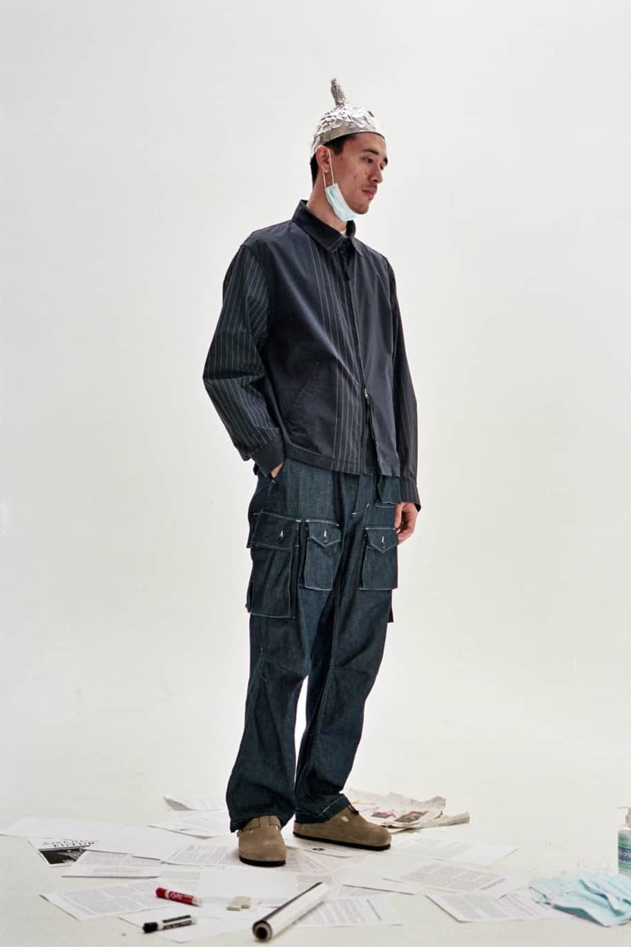 Claigton Jacket Dark Navy Nyco Gangster Stripe | Jacket by Engineered Garments 4
