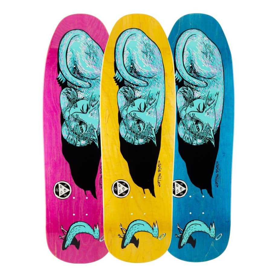"""Welcome Skateboards Miller Sleeping Cat on Gaia Deck Various Stains 9.6"""" 