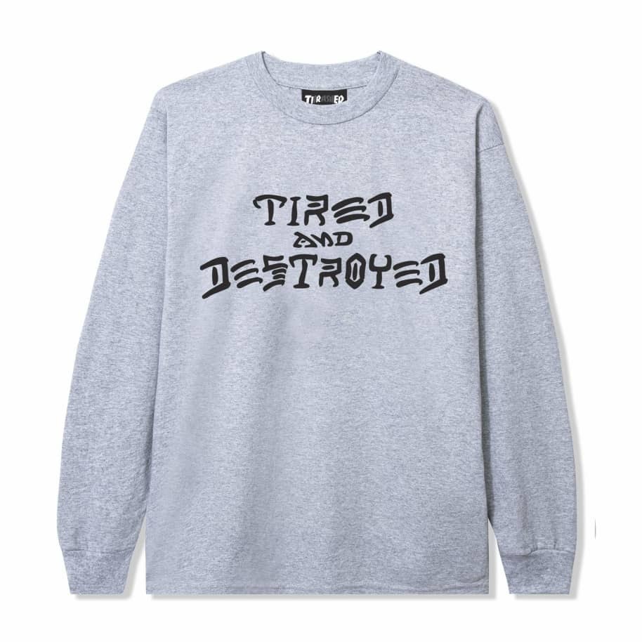 Tired x Thrasher Destroyed Long Sleeve T-Shirt - Heather Grey | Longsleeve by Tired Skateboards 1