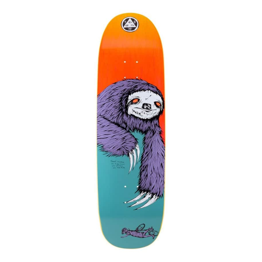 Welcome Skateboards Sloth on Boline Skateboard Deck - 9.25 (Teal/Yellow Stain)   Deck by Welcome Skateboards 1