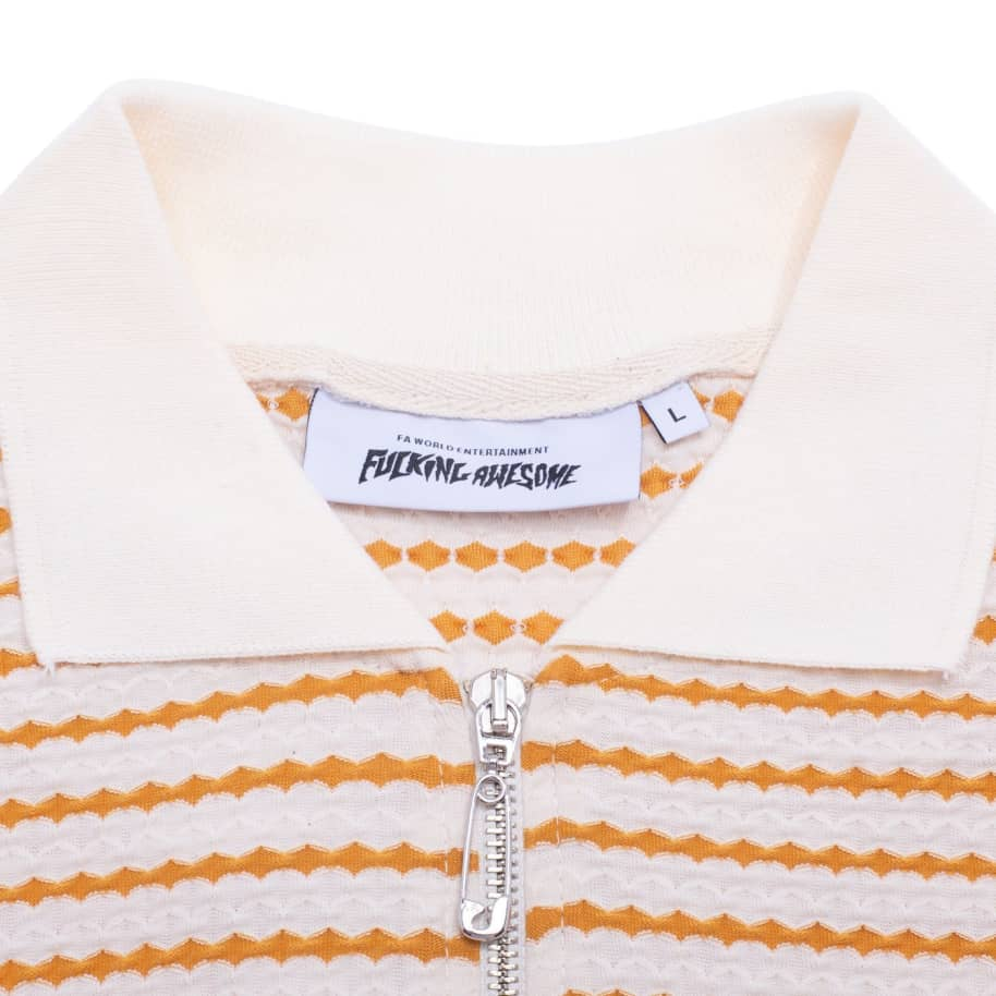 Fucking Awesome School Day 1/4 Zip Shirt - Gold / White | Polo Shirt by Fucking Awesome 2