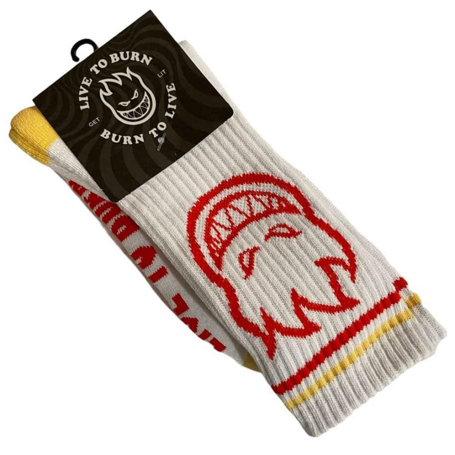 Spitfire Socks Bighead White Yellow Red   Socks by Spitfire Wheels 1
