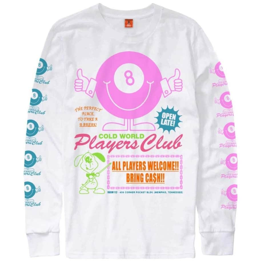 Cold World Frozen Goods Players Club Long Sleeve T-Shirt - White   Longsleeve by Cold World Frozen Goods 1