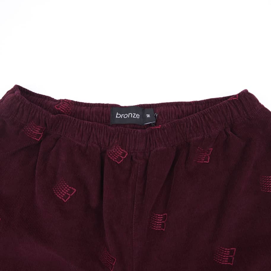 Bronze 56k Allover Embroidered Cord Pants - Maroon | Trousers by Bronze 56k 3