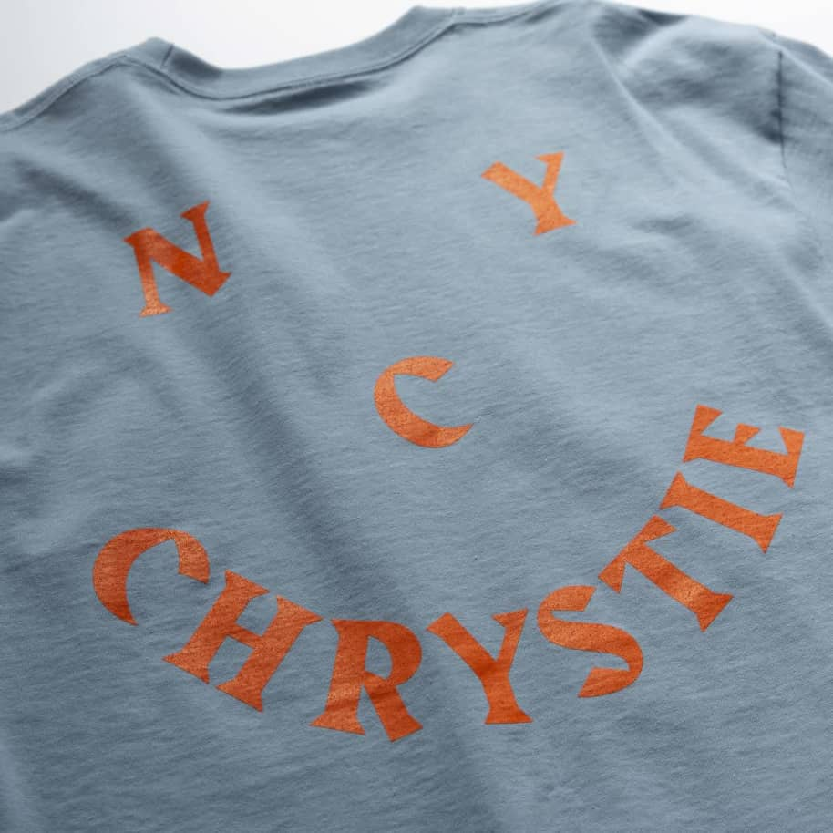 Chrystie NYC Smile Logo Long Sleeve T-Shirt - Stone Blue | Longsleeve by Chrystie NYC 3