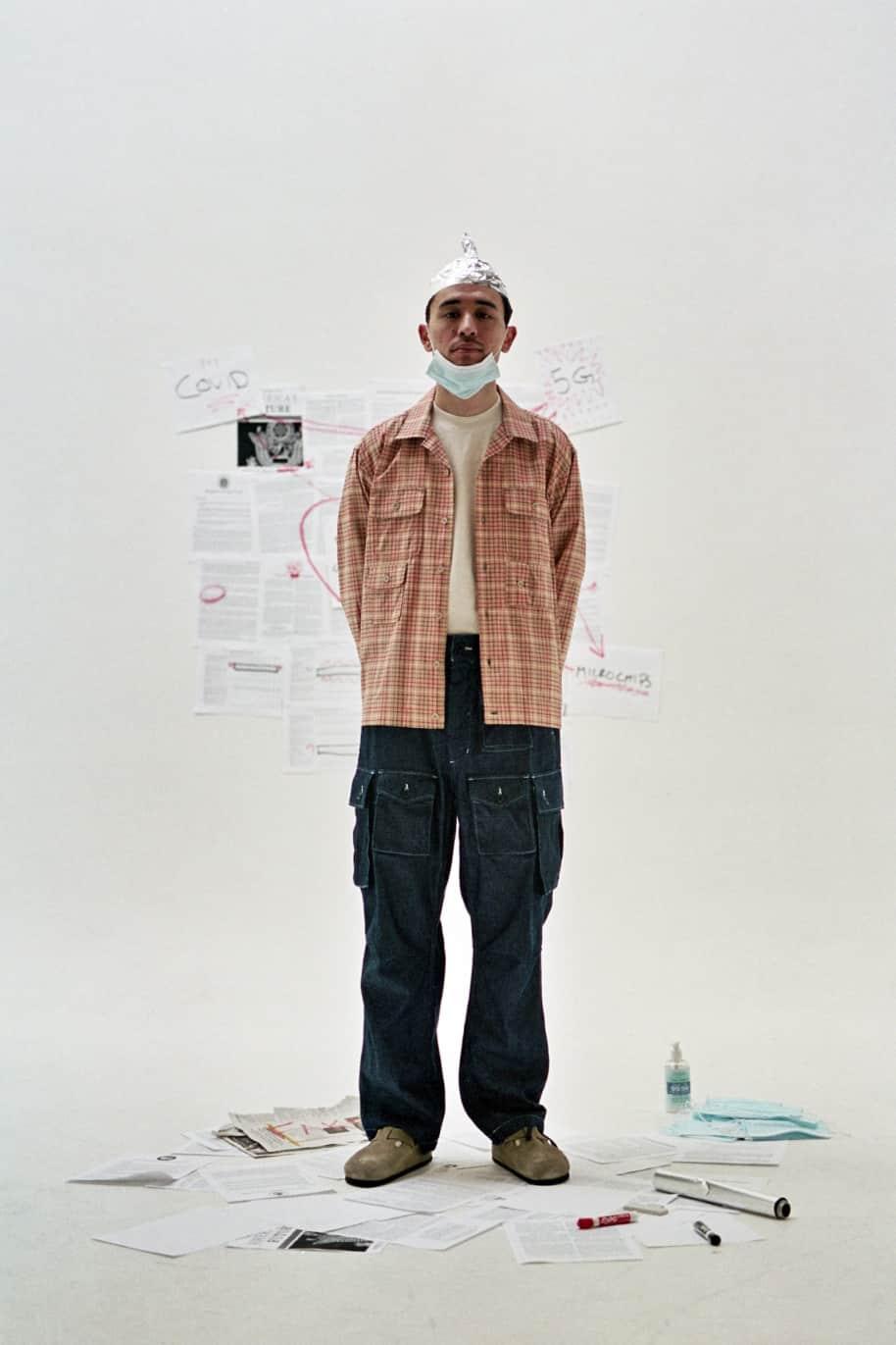 Bowling Shirt Beige Cotton Printed Tattersall | Shirt by Engineered Garments 3