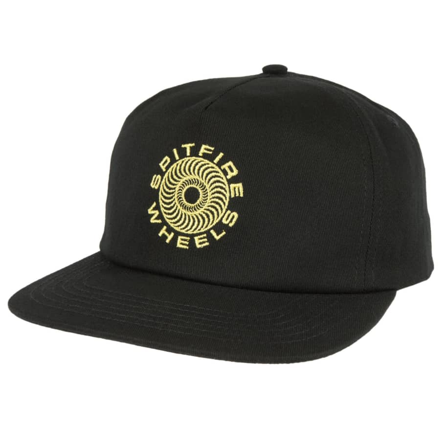 SPITFIRE Classic 87 Swirl Snapback Hat Black/Yellow | Snapback Cap by Spitfire Wheels 1