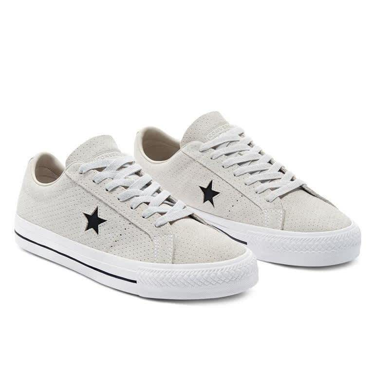 Converse CONS Perforated Suede One Star Pro Low Top Shoes - Pale Putty / White / White | Shoes by Converse Cons 2