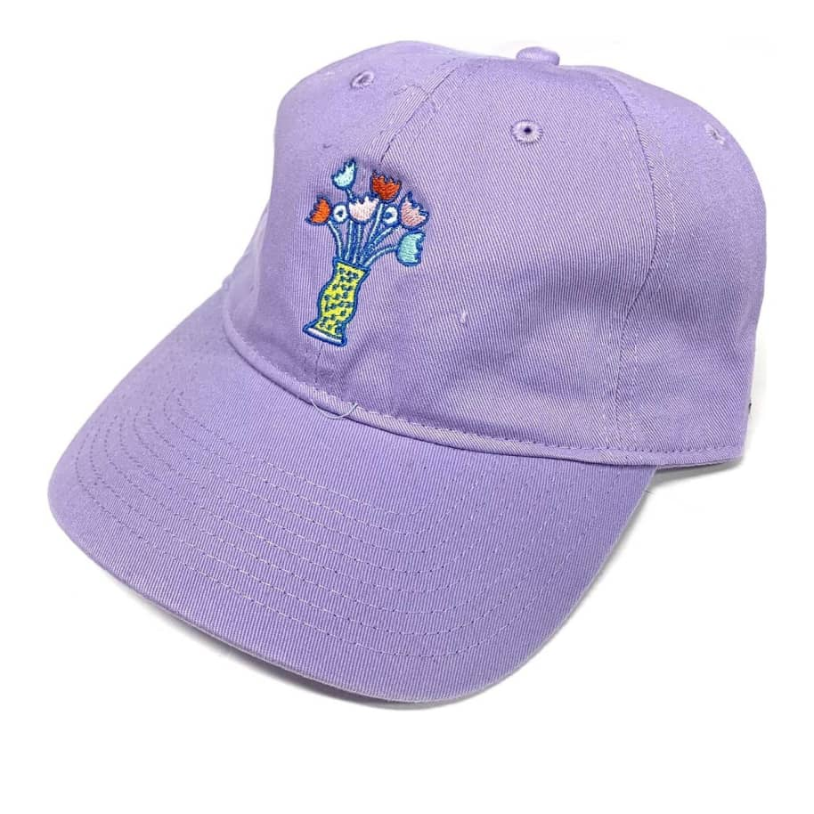 The Quiet Life Floral Vase Strapback Hat - Purple | Baseball Cap by The Quiet Life 1