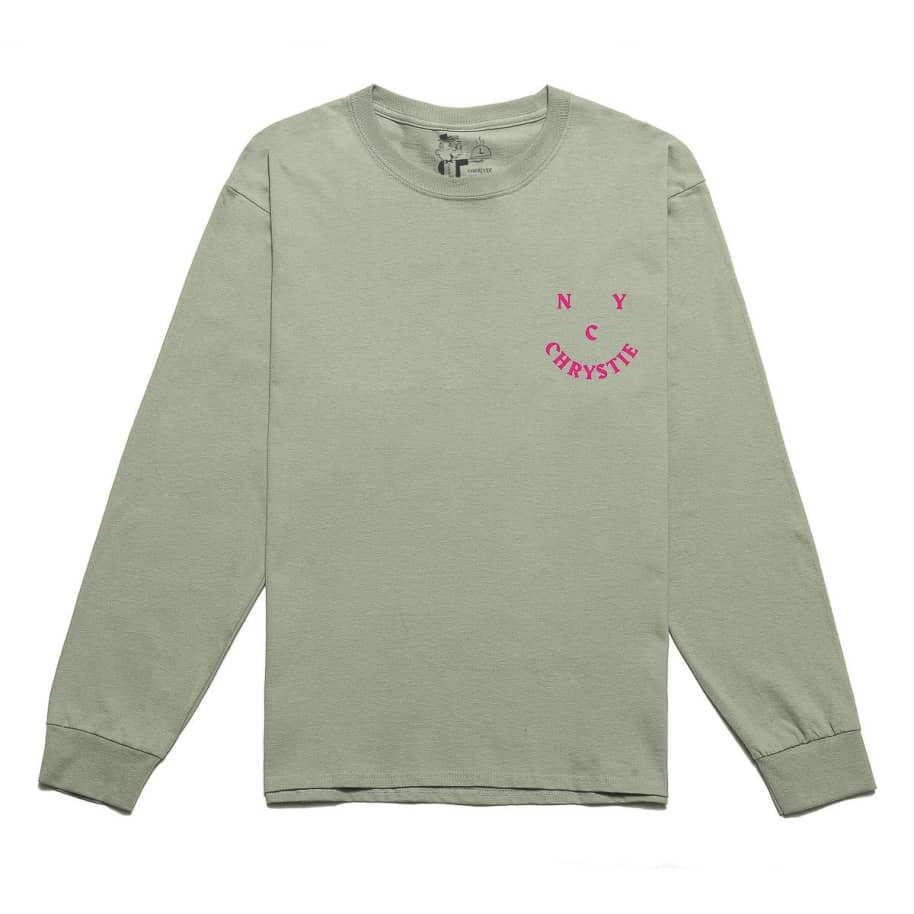 Chrystie NYC Smile Logo Long Sleeve T-Shirt - Weed Green | Longsleeve by Chrystie NYC 2
