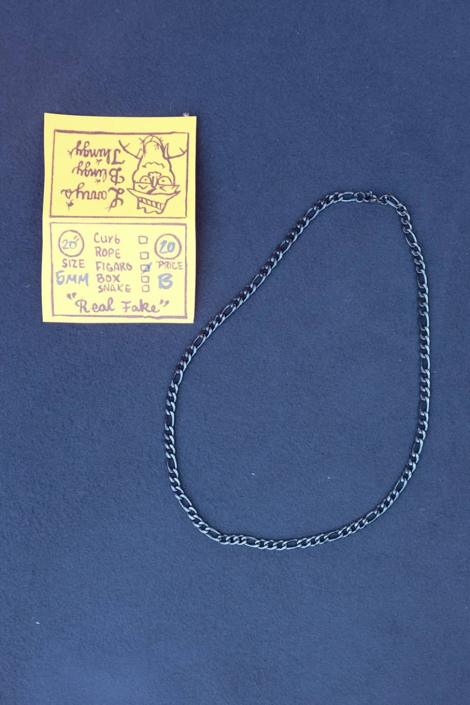 Figaro Necklace 20 inch 5 mm - Black | Jewellery by Larry's Blingy Thingy 1