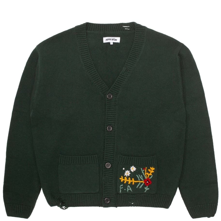 Fucking Awesome Distressed Flower Cardigan - Forest Green | Cardigan by Fucking Awesome 1