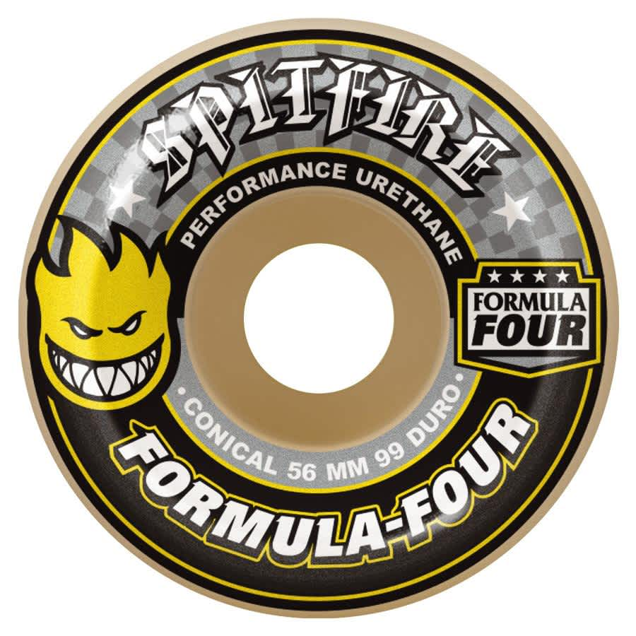 Spitfire Wheels F4 99D Conical Yellow Print 56mm | Wheels by Spitfire Wheels 1