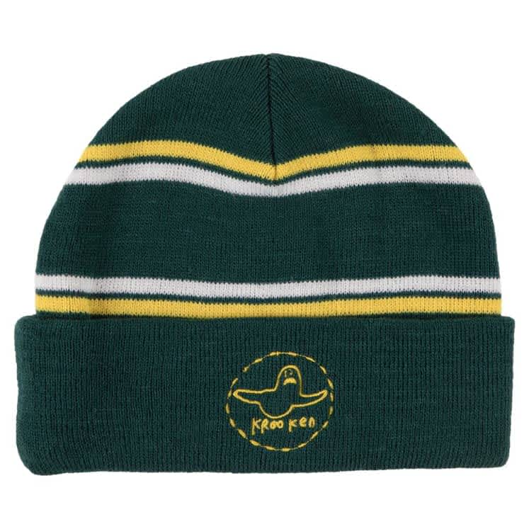 Krooked Beanie Trinity Cuff Green/Yellow/White | Beanie by Krooked Skateboards 1