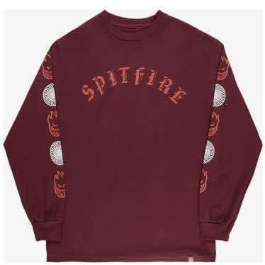 Spitfire Old E Combo Long Sleeve T-shirt - Burgundy | Longsleeve by Antihero Skateboards 1
